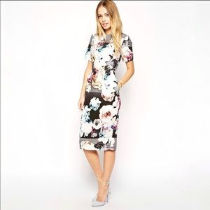 Asos wiggle dress photo floral print US 8